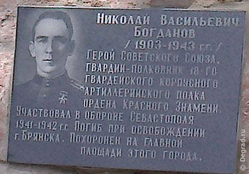 Памятная доска Н. В. Богданову