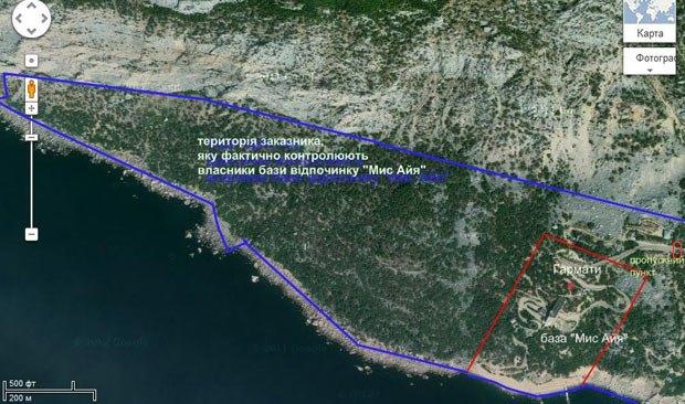 Территория заказника, захвачена владельцами базы «Мыс Айя»
