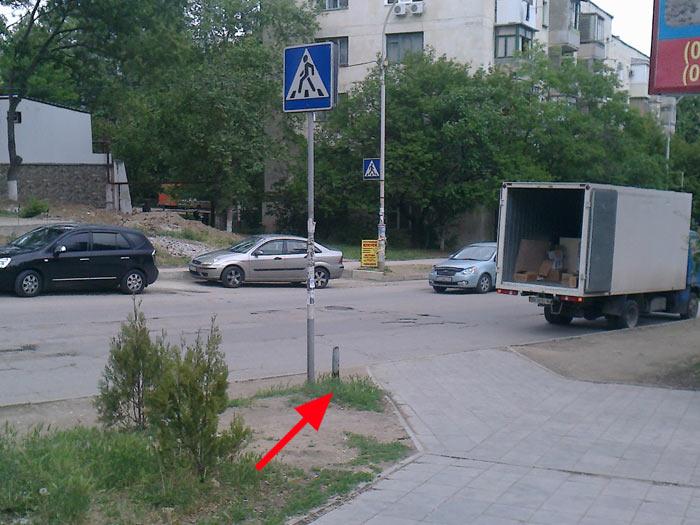 Остатки знака на ул. Богданова