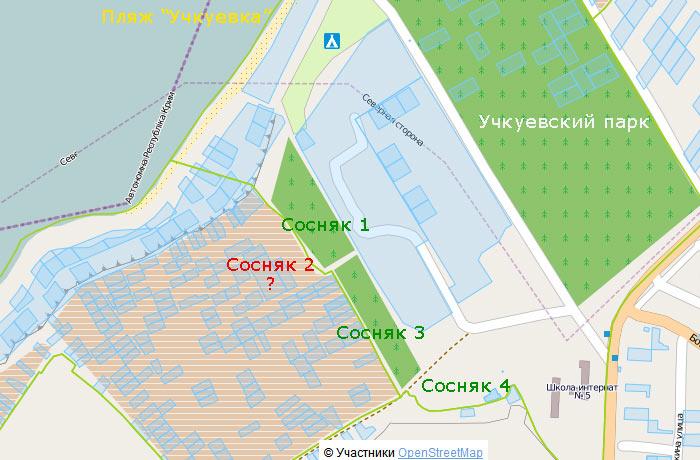 Сосняк возле Учкуевки на карте