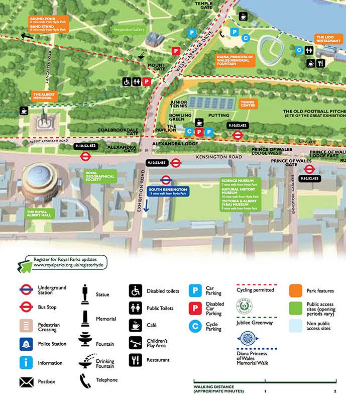 Фрагмент схемы лондонского Гайд-Парка